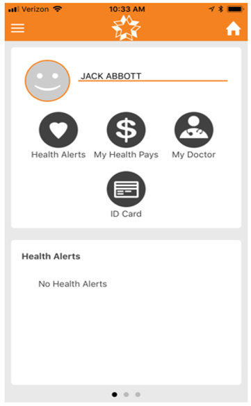 screenshot of app: Health Alerts, MyHealthPays, My Doctor, ID Card